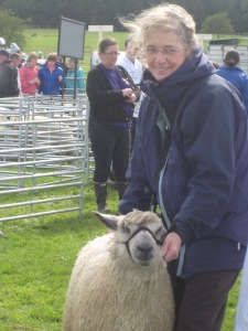 Liz in the Show Ring with one of Freda's beautiful Wensleydales