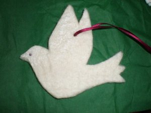 Felt dove made by Kathrina Hughes